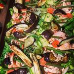 Roast Aubergine, salmon & pickled vegetable salad board.. great for parties