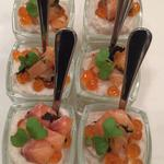 Crème de choux fleur , saumon aux algues , oeuf de saumon