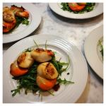 Pan-friend Scallops with Chorizo and a Wasabi and Caviar dressing
