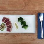 Tuna tataki with sesame brocolli and wasabi dressing