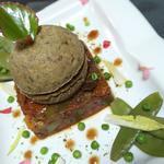 Compressé de légumes du soleil , et sa sphère de Corn bread  aux champignons
