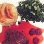 Highland Venison Medallion in Sloe Gin with Dauphinois Potatoes and seasonal greens