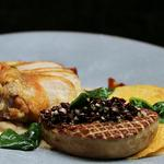 Roasted Guinea fowl, white beans and their sauce, duck liver and girrole mushrooms