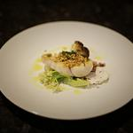 Local turbot, shrimp, butter roasted cauliflower, caramelised cauliflower puree, crispy caper and pine nut crumb