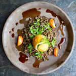 Fried eggs and lentils salad ( Starter - Vegetarian Menu )