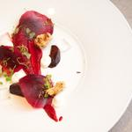 Beetroot, elderflower, blue cheese Bon Bon