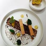 Foie gras torchon au rhum vieux et son chutney pomme-gingembre