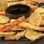 Prawn and vegetable tempura with homemade dipping sauce.