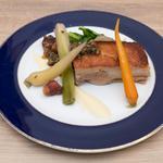 Pork belly 'petit sale' with lentils du puy and poached vegetables