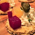 smoked beetroot with whipped goats cheese on thyme oat biscuits