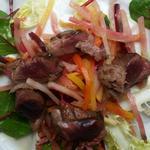 Salade de Canard Sauvage aux légumes d'hiver, huile de truffe