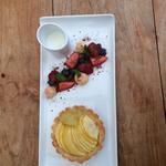 Individual apple tart, creme anglaise