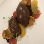Valrhona Chocolate Delice,blood orange,cookie crumb,honeycomb,coriander