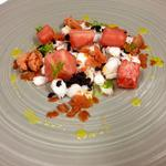 Octopus, watermelon, black olive, bloody mary granita