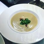 Jerusalem artichoke soup with spinach pesto, hazelnuts and truffle oil