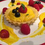 Pasta frolla tart with Lemon crema pasticcera, fresh berries salad with baby basil