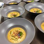 Andalucian Gazpacho, chive oil, basil crisp