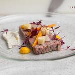 Ham Hock Terrine, Pickled Carrots, Carrot Puree, Micro Herbs, Brioche Croutons