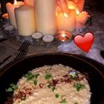 Champagne and Parmesan risotto with prosciutto ground