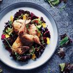 Brown Butter Roasted Quail, Beetroot, Red Leaves, Damson