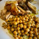 Tuscan style roast rabbit with rosemary and garlic chickpeas