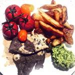 Steak, Peppercorn Sauce, Triple Cooked Chips, Minted Mushy Peas & Roast Vine Tomatoes