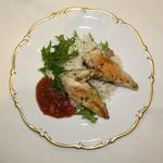 Poitrine de poulet au romarin, compote de rhubarbe, riz basmati