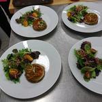 Dôme de légumes en gelés, mesclun, vinaigrette au vinaigre de tomates