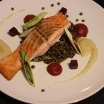 Salmon, Puy Lentils, Jerusalem Artichoke and Beetroot Puree