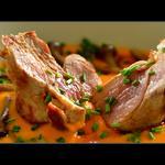 Filet mignon de porc du Limousin, purée de patate douce coco-gingembre et champignons enoki