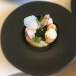 St jacques vinaigrette pomelos bergamote, légumes crus cuits