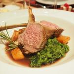 Rack of Yorkshire lamb with dauphinoise potato, pea puree and red wine jus