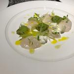 Raw scallop, fennel, goats curd, pickled cucumber