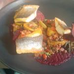Sea Bass, Puy, Jersey, Concass, Olive, Beetroot textures.
