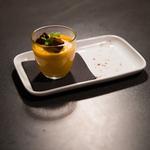 Velouté de courge parfumé au foie gras et pain d'épice