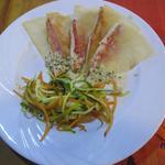 Mille feuilles de Rouget au beurre de ciboulette  -  Julienne de légumes