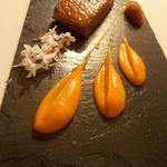 Magret de canard, crème de patate douce, chutney topinambour