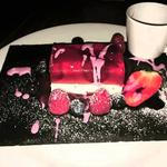 Strawberry champagne panna  cotta terrine.