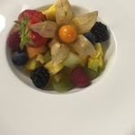 fruit salad with passion fruit sauce