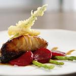Asian Black Cod on Pickled Beetroot with Tempura Asparagus, Blood Orange reduction