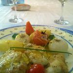 Lotte au safran et légumes glacés