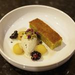 pistachio torte, blackberries, quince, rose petal syrup, gelato, condensed milk