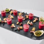 Brochette magret de canard fumé et foie gras