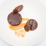 Chocolate ganache, with cocoa nib tuilles and salted Caramel ice cream