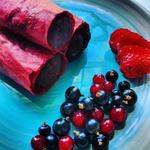 Roulés de cuirs de fruits farcis aux brownie