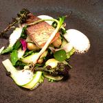 Stone Bass, Jersey Royals, Spring Greens and Caviar