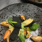 Muscles, asparagus, charcoal brittle