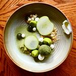 Apple Curd, Matcha Tea Doughnut, Butter Milk, Crumble