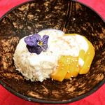 Mango Sticky Rice with Infused Pandan Coconut Cream as lovely Autumn Dessert