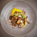 Corn fed chicken, wild mushrooms, lentils and thyme & root vegetable puree